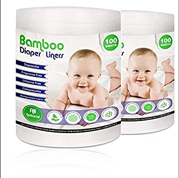 Flushable /& Disposable 2 Pack 100/% Bamboo Highly Absorbent Unscented Biodegradable Diaper Liners Chlorine /& Dye-Free