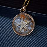 """Natural Starfish Shell Sea Sand Beach Glow In The Dark Transparent Floating Locket 18K Gold Plated Long Necklace 26"""" Length Chain"""