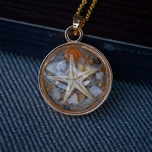 Natural Starfish Shell Sea Sand Beach Glow In The Dark Transparent Floating Locket 18K Gold Plated Long Necklace 26