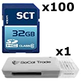 100 PACK - SCT 32GB SD HC Class 10 Secure Digital Ultimate Extreme Speed SDHC Flash Memory Card 32G 32 GB GIGS (S.F32.RTx100.562) LOT OF 100 with USB SoCal Trade© SCT SD Memory Card Reader - Bulk Packaging