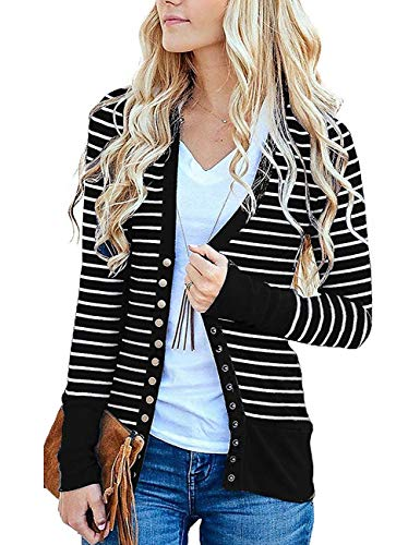Cucuchy Snap Cardigan, Open Front Striped Jackets Retro Antique Brass Snap Buttons Outwear Stretchy Warm Coats Comfortable Designer Outfits Slim Fit Clothes Lightweight Black Medium (Designer Retro Clothing)