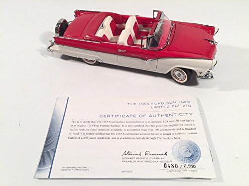 Franklin Mint Limited Edition (Franklin Mint 1955 Ford Sunliner Limited Edition Red Convertible 1:24 Scale Car)