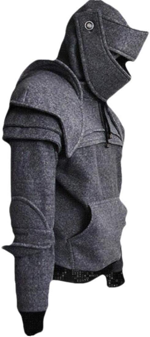 Fubotevic Men Casual Jacket Coat Medieva-Knight-Armor Pullover Solid Hoodie Sweatshirt