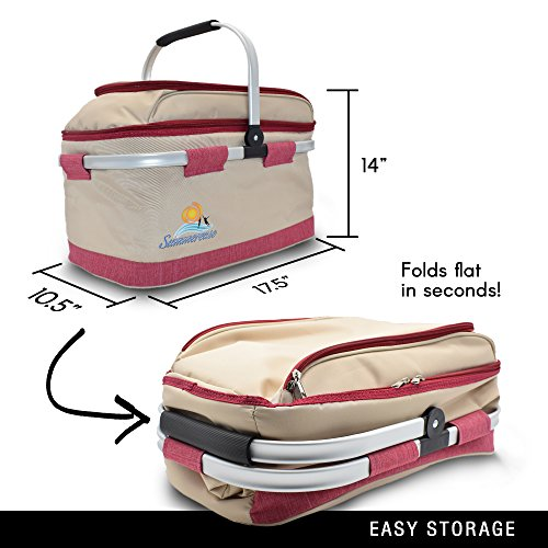 Buy Bargain summerease Insulated Collapsible Picnic Basket with Extra Wine Bag Lightweight & Foldabl...