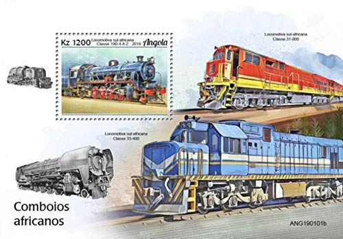 Angola - 2019 South African Trains - Stamp Souvenir Sheet - ANG190101b