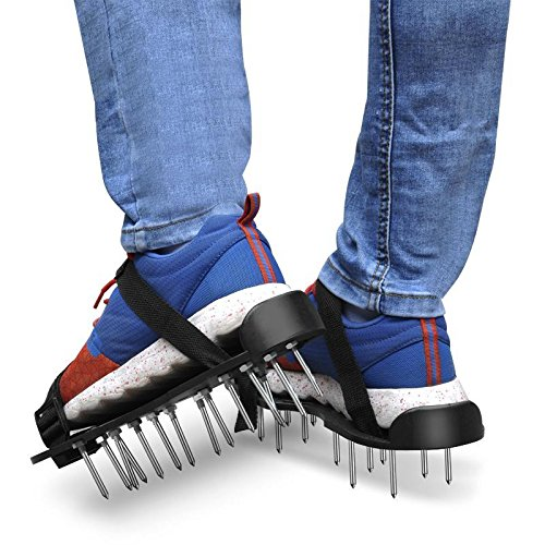 Topeakmart Lawn Aerator Shoes w/ABS Plastic Buckles and 2 Straps - Heavy Duty Spiked Sandals for Aerating Lawn Yard - One Size Fits All