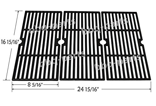 Hongso PCF123 Matte Porcelain Coated Cast Iron Cooking Grid Set Replacement for Select Gas Grill Models by Kenmore, Charbroil, Thermos, Set of 3 (Bar Patio Kmart Set)