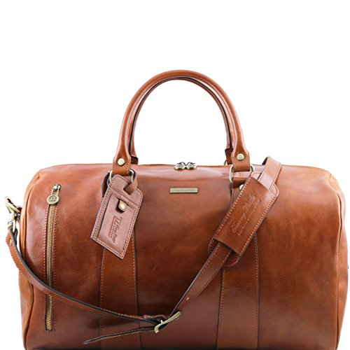 Tuscany Leather TL Voyager Travel leather duffle bag - Large size Honey by Tuscany Leather