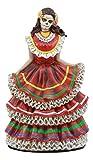 Ebros Dia De Los Muertos Day Of The Dead Traditional Red Gown Dancer Statue Sugar Skull Vivas Calacas Figurine