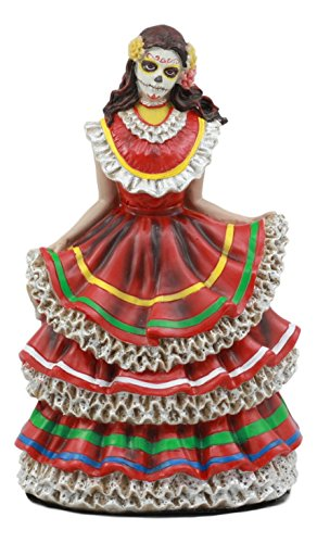 Ebros Dia De Los Muertos Day Of The Dead Traditional Red Gown Dancer Statue Sugar Skull Vivas Calacas -