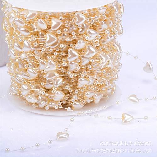 Pearl String Beads Wedding Decoration Heart Shape Imitation Pearl Garland Pearl Beaded String DIY Crafts Wedding Decoration 9mm 60m (beige) - Beaded Socks Hearts
