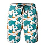 SUMME MEOW Man's Miami Cute Blue Dolphin Pattern Stretch Quick Dry Beach Pants Shorts With Pockets