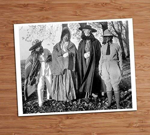 Creepy Group Photo Vintage Art Print 8x10 Wall Art Weird Adult Costume Party Halloween Decor ()