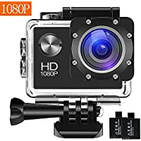 Chtreme 12MP 1080P 2 Inch LCD Screen Waterproof Sports Action Camera with 2 Rechargeable Batteries and Mounting Accessories Kit