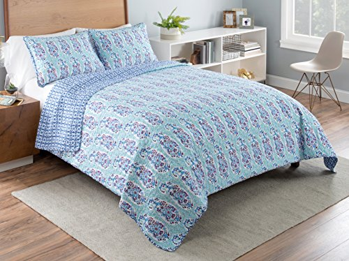 Vue 16242BEDDTXLBLU Little India 90-inch by 68-inch 2-Piece Reversible Twin XL Quilt Set, Blue by Vue