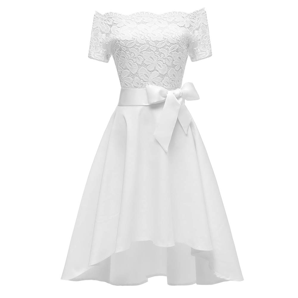 White Women Off Shoulder Lace Dress Strapless Party Dress ALine