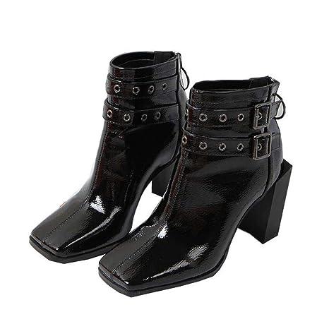 Botines Mujer Pies Cuadrados 11Cm Grueso Talón Martin Botas De Vestir Zapatos Remaches Cinturón Hebilla OL