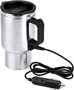 Car Heating Cup, Stainless Steel Travel Heating Cup, Electric Heated Coffee Mug for Heating Water, Coffee, Milk and Tea with Charger, 450ml, 12V