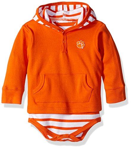 NCAA Clemson Tigers Children Unisex Stripe Hooded Creeper,18Mo,Orange (Orange Creeper Embroidered)