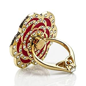 Phone Stand, PAMISO Luxury rose shape Universal Phone Stand ,Multi-Angle Portable Stand, 360 Rotation 3D Aluminium Alloy Ring Grip/Phone Holder for iPhone,Samsung, All Cell Phones (Red)