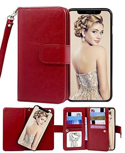 (Crosspace iphone xrWalletCase,Premium Flip LeatherCase Wallet2-in-1DetachableProtectiveMagnetickickstandfolding Purse withCardSlotsandWrist strapLanyardfor iphone xr6.1 inch-Red)