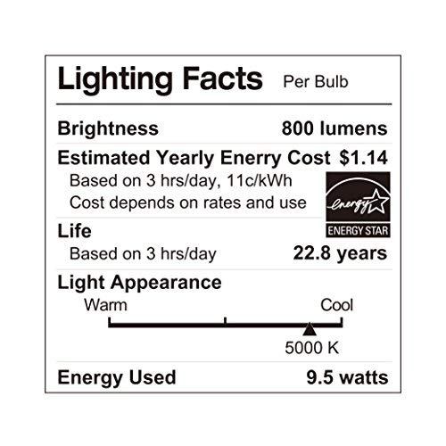 LUNO A19 Dimmable LED Bulb, 9.5W (60W Equivalent), 800 Lumens, 5000K (Daylight), Medium Base (E26),UL & ENERGY STAR (4-Pack)