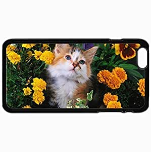 Customized Case Back For Iphone 6 Plus 5.5 Inch Hard Cover Personalized Cat Flowers Face Fluffy Black WANGJING JINDA
