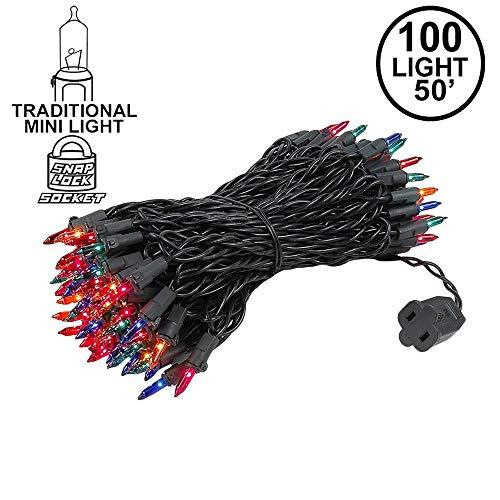 Novelty Lights 100 Light Multi Christmas Mini String Light Set, Black Wire, Indoor/Outdoor UL Listed, 50' Long ()
