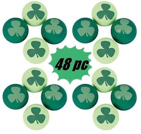 Shamrock Pencils - 48 pc bulk St Patricks day Bouncy Balls - party favors and prizes -(4 dz per order)