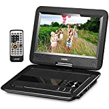 UEME Portable DVD CD Player with 10.1 Inch LCD Screen, Built-in Rechargeable Battery, Remote Control, Car Charger Wall Charger, Personal DVD Players with Canvas Headrest Case (Black)