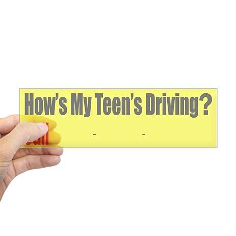 Cafepress hows my teen driving bumper sticker 10x3 rectangle bumper sticker