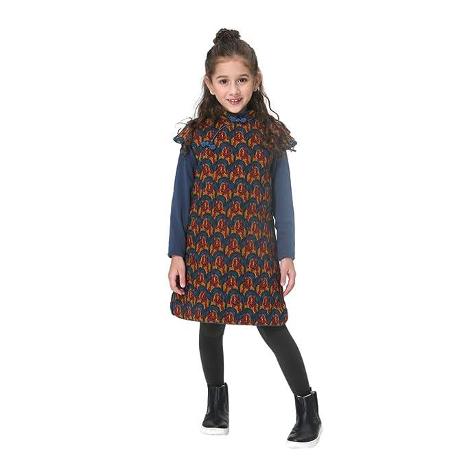 Vestido de algodón para niñas Hecho a Mano Abrigo Chino Cheongsam Qipao Ropa para niños 215: Amazon.es: Ropa y accesorios