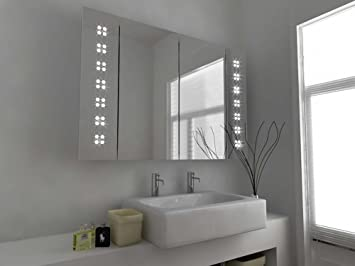 Modern Mirror Design Led Bathroom Mirror Cabinet With Sensor And Shaver Socket C121 Clear Glass 600mm