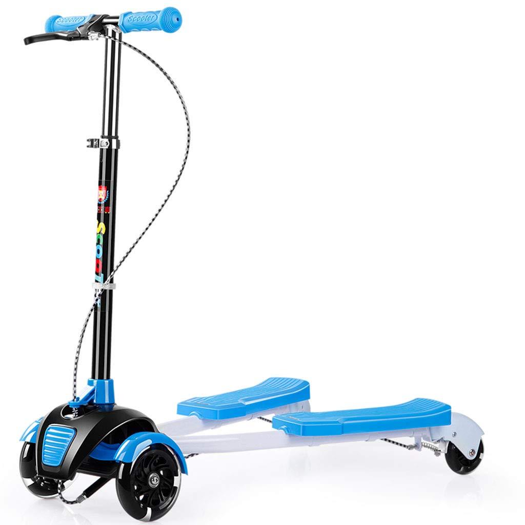 子ども用自転車 子供の四輪フラッシュスクーター ブルーキックスクーター 少年少女スクーター 子供のカエルスクーター 子供用屋外用品 アウトドア自転車 (Color : Blue, Size : 82cm*28cm*90cm) 82cm*28cm*90cm Blue B07KYGNJ28