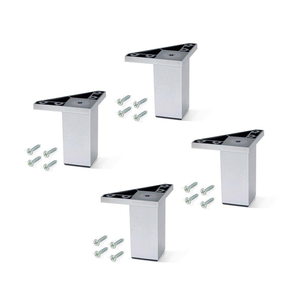 Emuca 2039825 Lote de 4 Pies con Tornillos de Montaje para Mueble/Armario/Cama, Aluminio, 120 mm