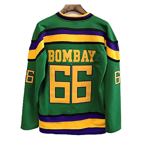 "JerseyFame Gordon Bombay #66 ""Mighty Ducks Movie"" Ice Hockey Jersey Green ALL SIZE (XL)"