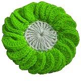 Woolen Crochet Applique Round Flower Design Green And White Sale 15 PC Woolen Flower
