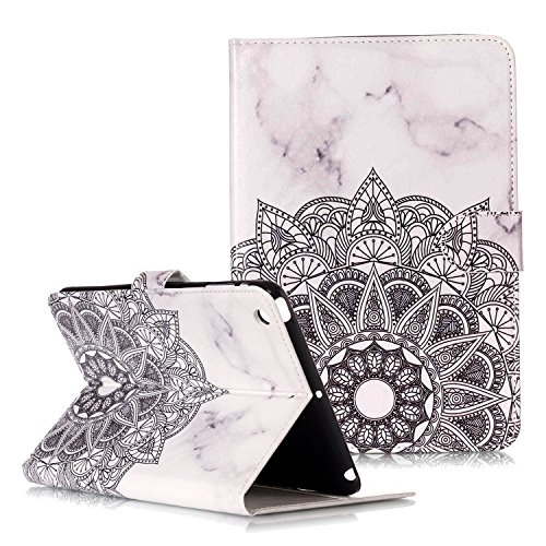 STENES iPad Mini Case - Stylish Series Ultra Slim Marble Stripes Tribal Flowers Premium Stand With Flexible Cover Soft TPU Back Case For iPad Mini 1/2/3 With Retro Dust Plug - White