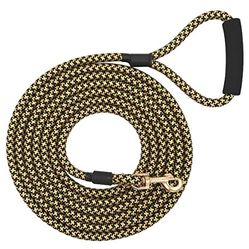 Shorven Nylon Strong Dog Rope Lead Leash Training Dog Lead with Soft Handle 6-20 FT Long Black/Golden (Dia:0.5