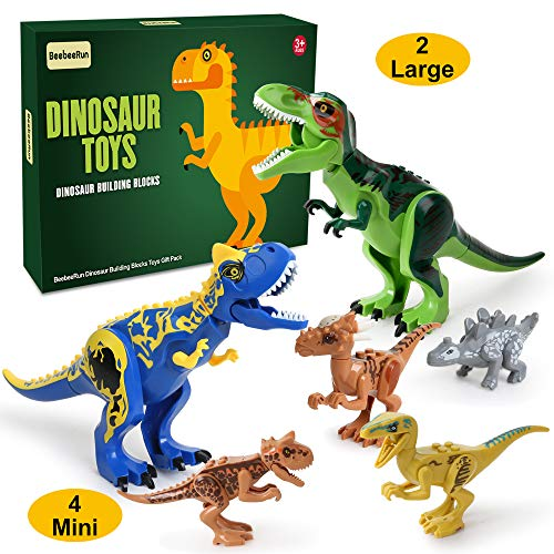 Beebeerun 6pcs Dinosaur Toys, 2pcs Jumbo Dinosaur Building Blocks, 4pcs Mini Dinosaur Figures STEM Toys with Movable Jaws Best Educational Toys Gifts for 3 4 5 6 7 Years Old Kids Boys Girls]()