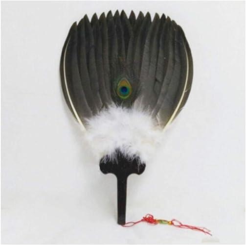 HUIJUNWENTI Ventilador Kong Ming, abanico chino, abanico de plumas vintage hecho a mano, abanico de viento antiguo Ming, abanico artesanal, lupino de manivela de rendimiento diario, regalo de estilo c: Amazon.es: Zapatos