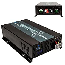 Reliable 3000W 12V DC to Dual 120V AC Outlets with LED Display Off Grid Pure Sine Wave Inverter Power Adaptor for Home (Black)