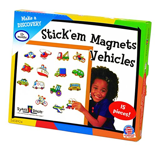 (Ryans Room Small World Toys Wooden Toys -Stick Em Magnets - Vehicles)