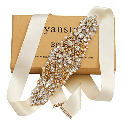 Yanstar Handmade Gold Rhinestone Crystal Beads Wedding Bridal Belts Sash With Off White Ribbon For Wedding dress