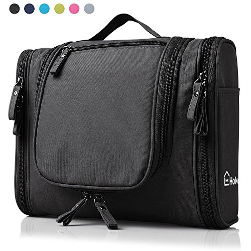 Heavy Duty Waterproof Hanging Toiletry Bag - Travel Cosmetic Makeup Bag for Women & Shaving Kit Organizer Bag for Men - Large Size: 10.2 x 4.5 x 8.5 Inch (Heavy Duty Travel Case)