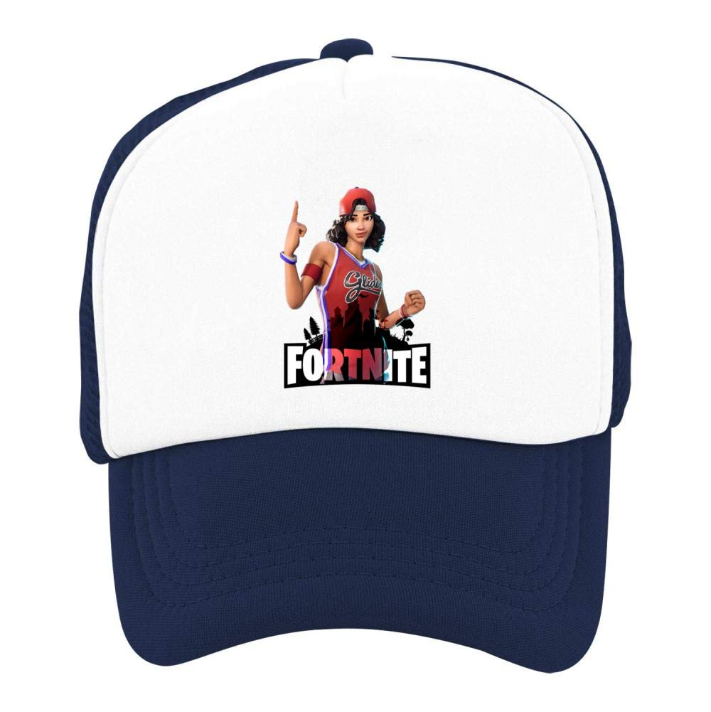 Stzanpt Kids Fortnite Triple Threat Creative Basketball Adjustable Printing mesh Fitted Hats for Youth Boy Girl Funny Design
