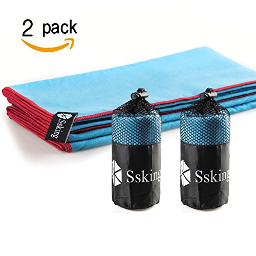 Quick Drying Microfiber Compact Sport Towel. For Exercise, Gym, Sport, Yoga, Travel, Camping, Hiking (2 packs 3 colors)(Blue&Blue)