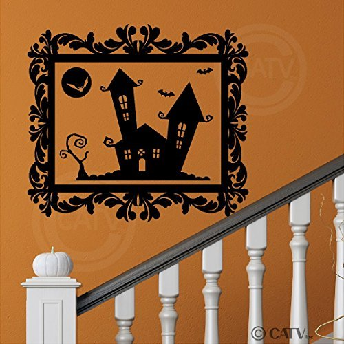 EvelynDavid Halloween Frame Haunted House portrait Vinyl Wall Decor lettering decal home decor wall art sticker (Large 25x22) -