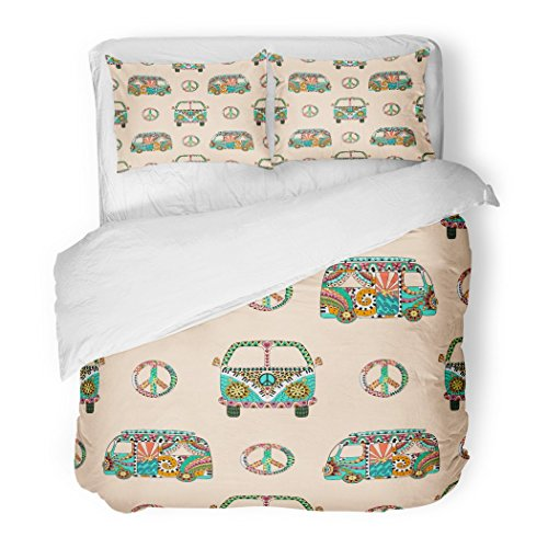 SanChic Duvet Cover Set Colorful Hippie Camper Bus and Symbol Peace Decorative Bedding Set with 2 Pillow Shams Full/Queen Size (Van Hippy)