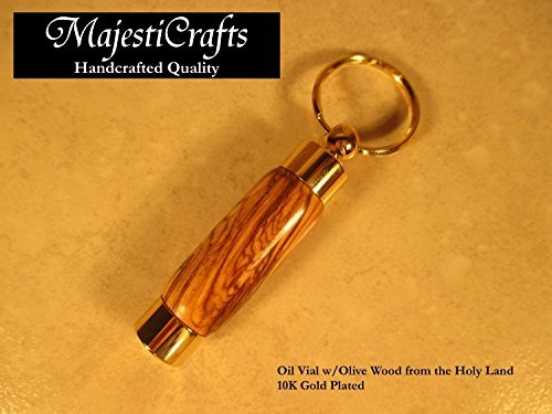- LDS Oil Vial - Olive Wood from the Holy Land - for Priesthood - Gold Classic Style